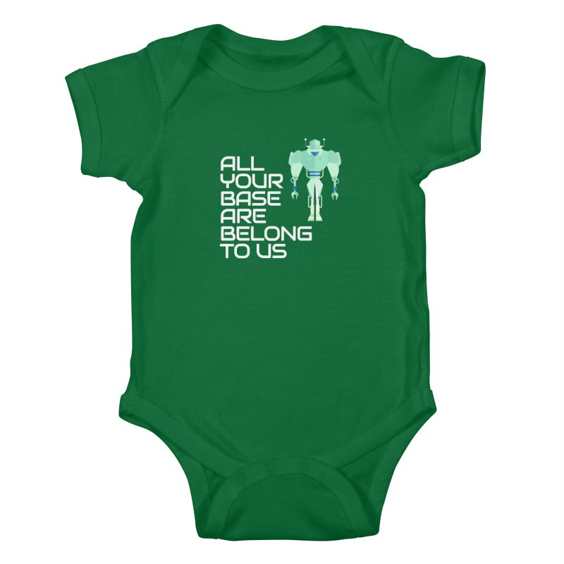 All Your Base (White Text) Kids Baby Bodysuit by Vectors NZ