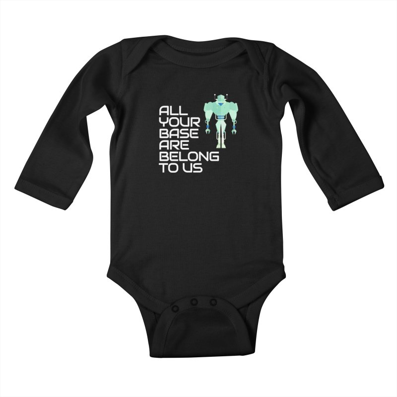 All Your Base (White Text) Kids Baby Longsleeve Bodysuit by Vectors NZ