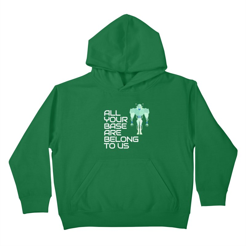 All Your Base (White Text) Kids Pullover Hoody by Vectors NZ