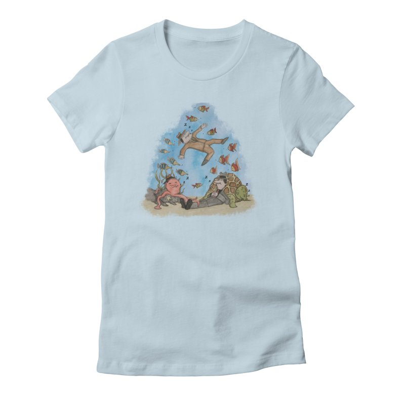Sleeping With The Fishes Women's Fitted T-Shirt by VEEDLEMONSTER TEES