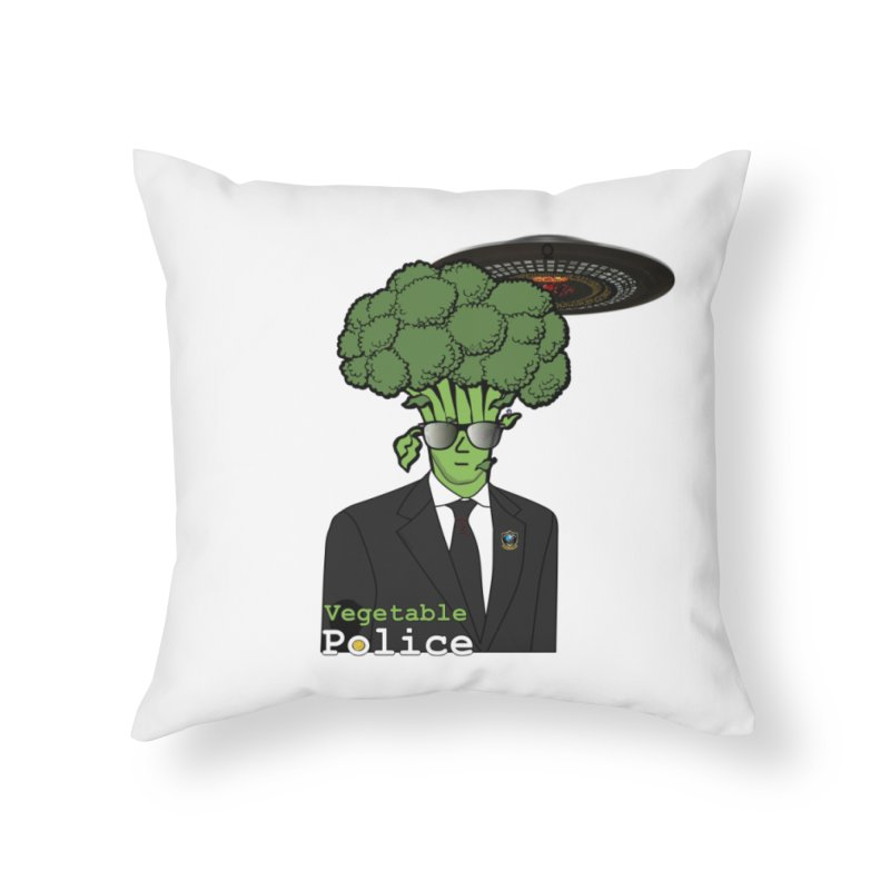 Vegetable Police (Broccoli Cop) Home Throw Pillow by Vegetable Conspiracies