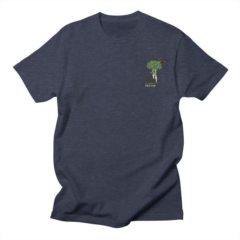 Vegetable Police (Broccoli Man Small Upper Left Corner) Men's T-Shirt by Vegetable Conspiracies