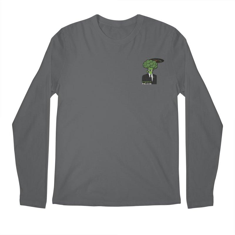 Vegetable Police (Broccoli Man Small Upper Left Corner) Men's Longsleeve T-Shirt by Vegetable Conspiracies
