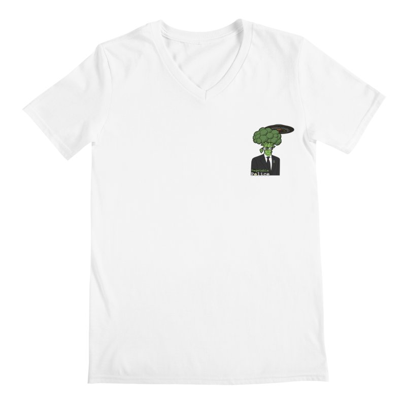 Vegetable Police (Broccoli Man Small Upper Left Corner) Men's V-Neck by Vegetable Conspiracies