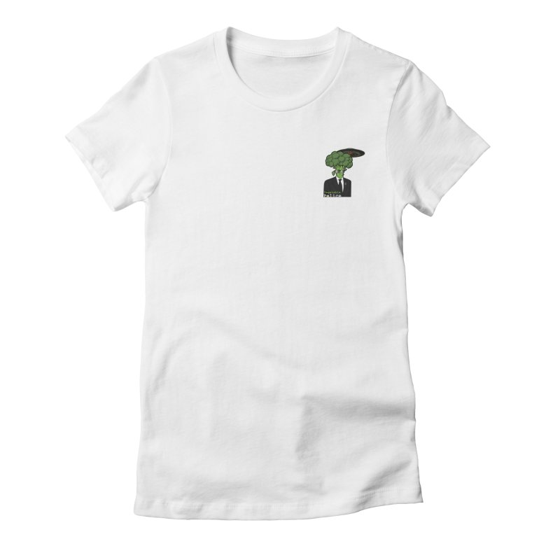 Vegetable Police (Broccoli Man Small Upper Left Corner) Women's T-Shirt by Vegetable Conspiracies