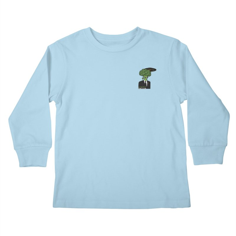 Vegetable Police (Broccoli Man Small Upper Left Corner) Kids Longsleeve T-Shirt by Vegetable Conspiracies
