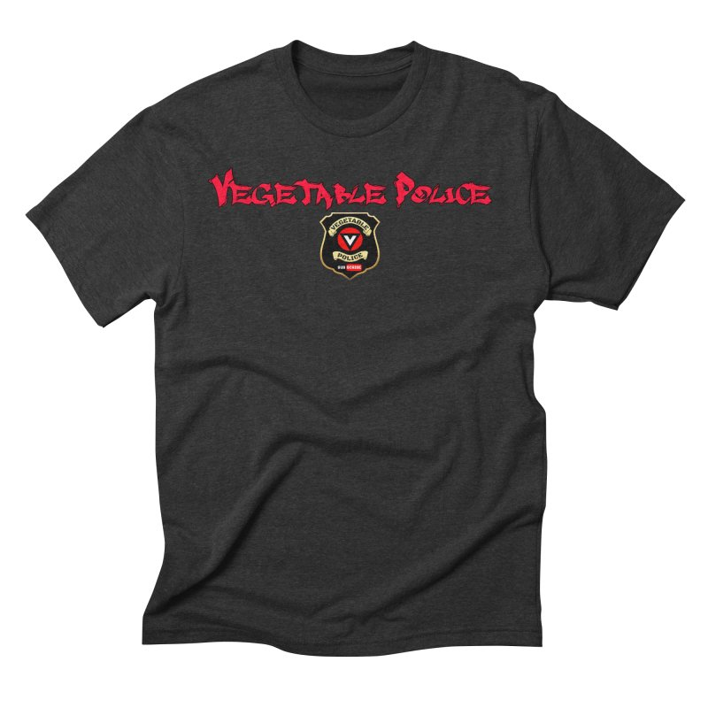 Vegetable Police (Red Graffiti) in Men's Triblend T-shirt Heather Onyx by Vegetable Police
