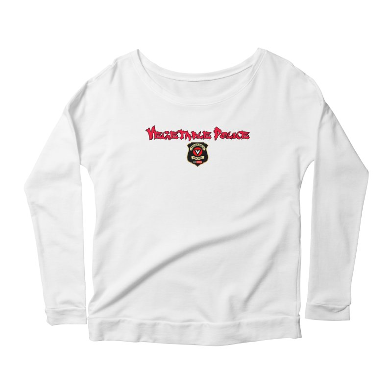 Vegetable Police (Red Graffiti) Women's Longsleeve Scoopneck  by Vegetable Police