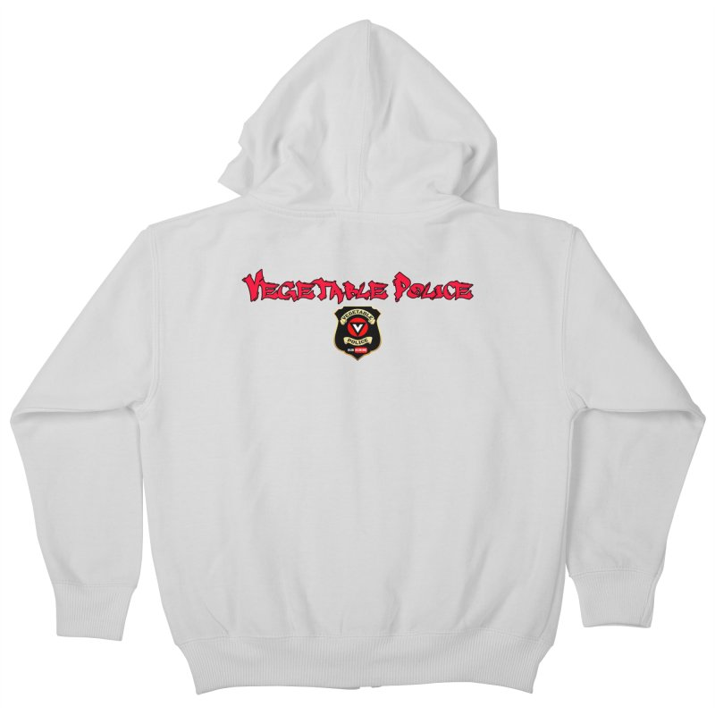Vegetable Police (Red Graffiti) Kids Zip-Up Hoody by Vegetable Police
