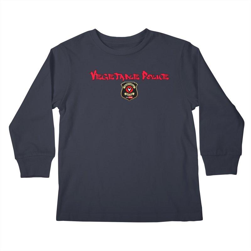 Vegetable Police (Red Graffiti) Kids Longsleeve T-Shirt by Vegetable Police