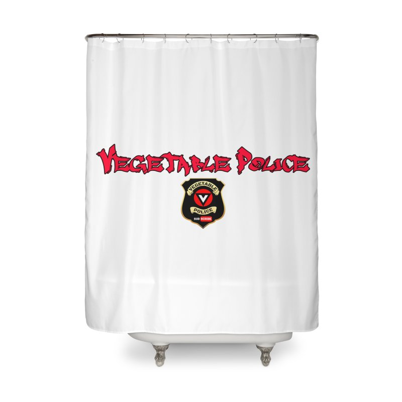Vegetable Police (Red Graffiti) Home Shower Curtain by Vegetable Police
