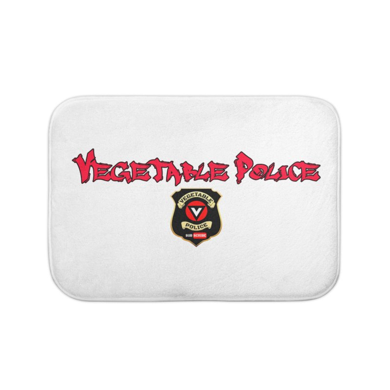 Vegetable Police (Red Graffiti) Home Bath Mat by Vegetable Police