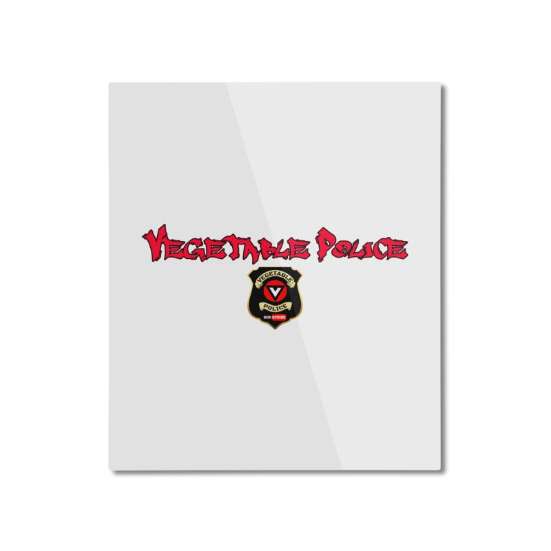 Vegetable Police (Red Graffiti) Home Mounted Aluminum Print by Vegetable Police