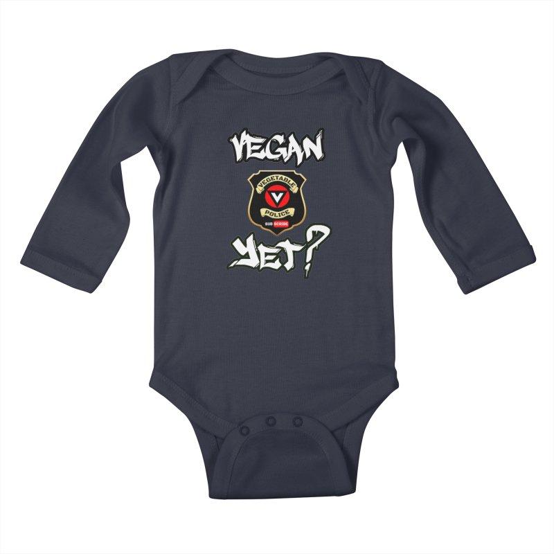 Vegan Yet? Kids Baby Longsleeve Bodysuit by Vegetable Conspiracies