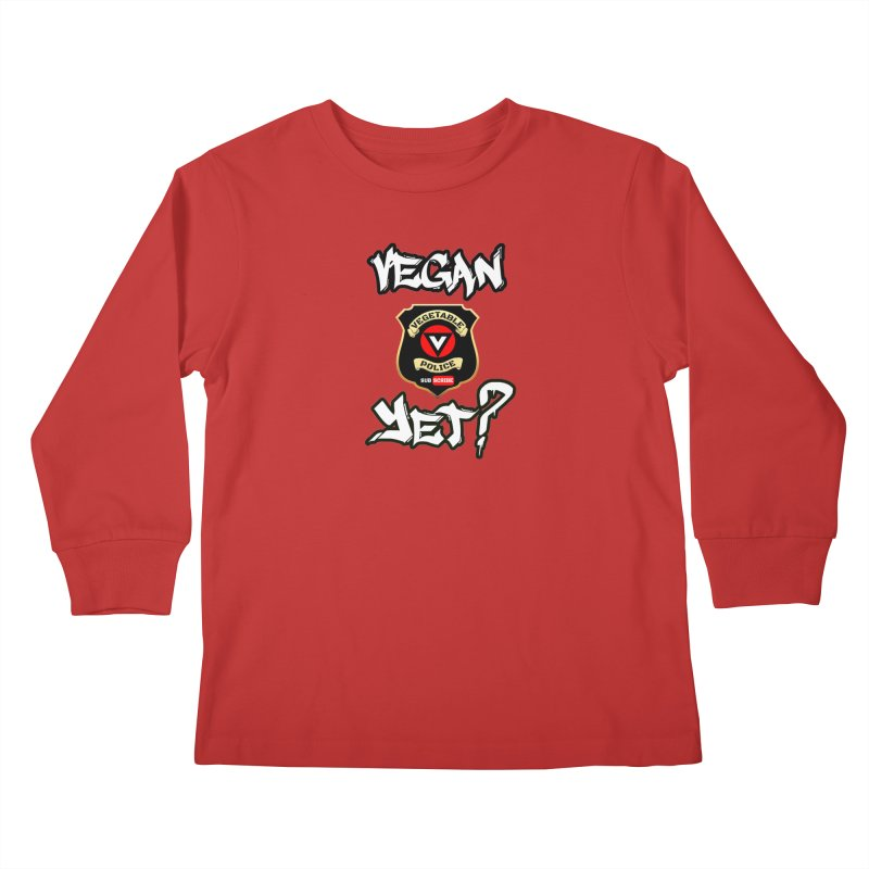 Vegan Yet? Kids Longsleeve T-Shirt by Vegetable Conspiracies