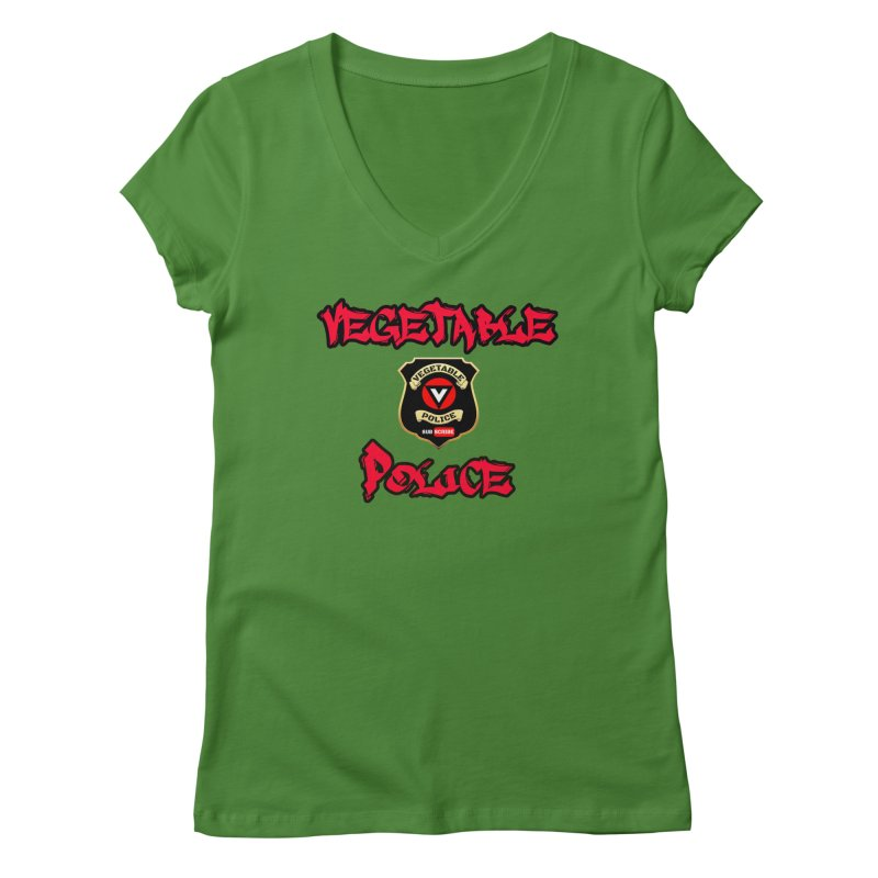 Vegetable Police Undercover (red) Women's V-Neck by Vegetable Police