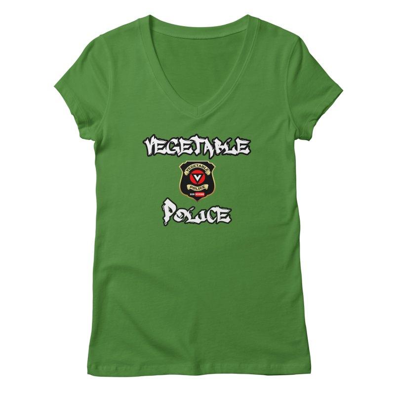 Vegetable Police Undercover (white) Women's Regular V-Neck by Vegetable Police