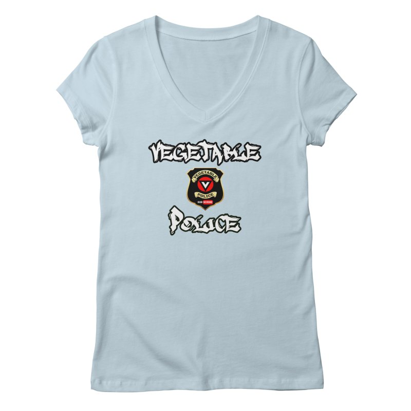 Vegetable Police Undercover (white) Women's V-Neck by Vegetable Police