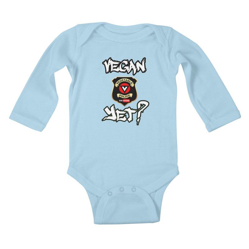 Vegan Yet? Kids Baby Longsleeve Bodysuit by Vegetable Police
