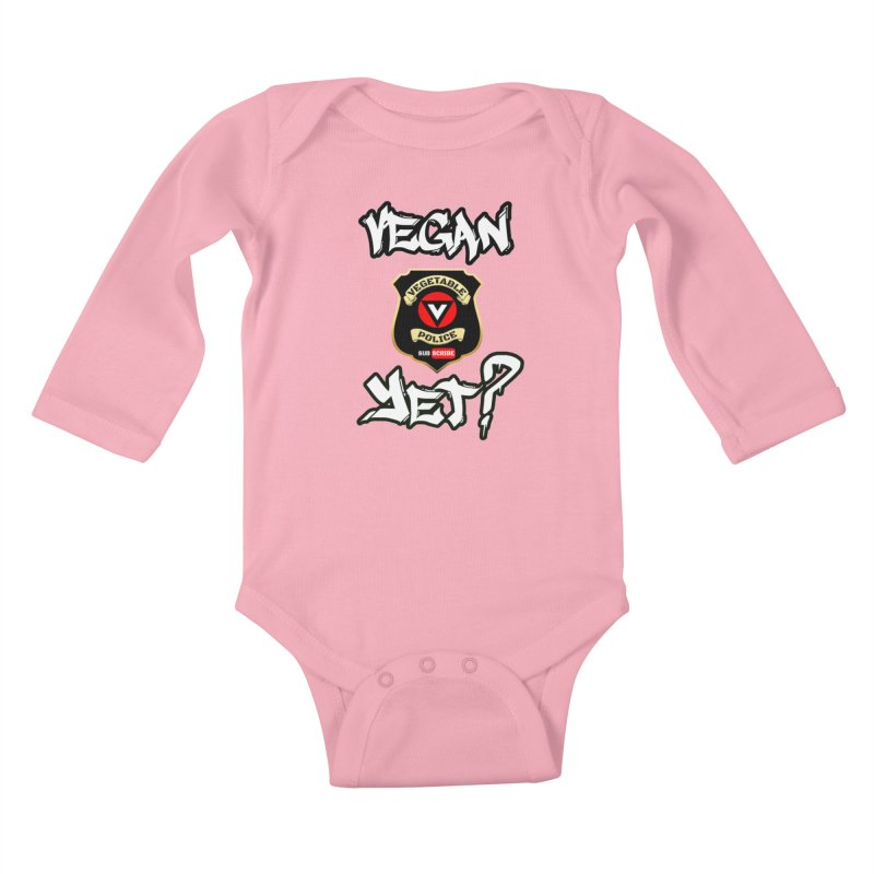 Vegan Yet? Kids Baby Longsleeve Bodysuit by Vegetable Police