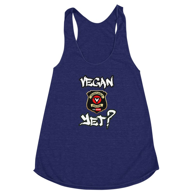 Vegan Yet? Women's Racerback Triblend Tank by Vegetable Police