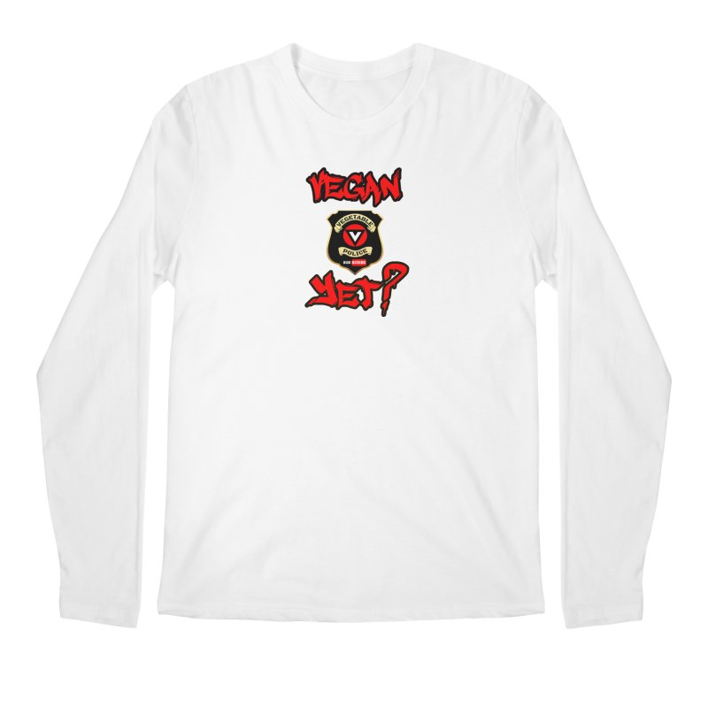 Vegan Yet? (red) Men's Longsleeve T-Shirt by Vegetable Police