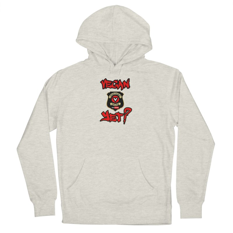 Vegan Yet? (red) Men's French Terry Pullover Hoody by Vegetable Police
