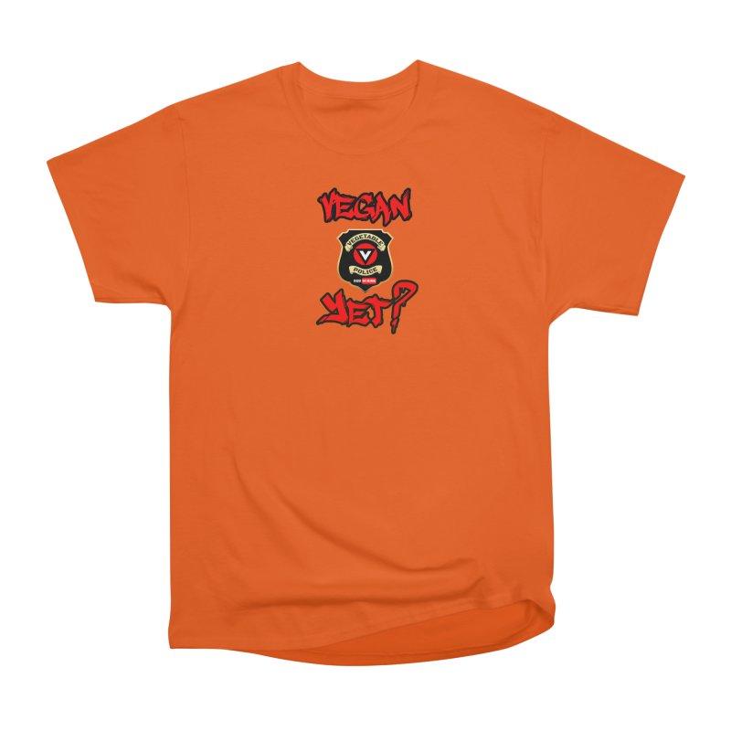 Vegan Yet? (red) Men's T-Shirt by Vegetable Police