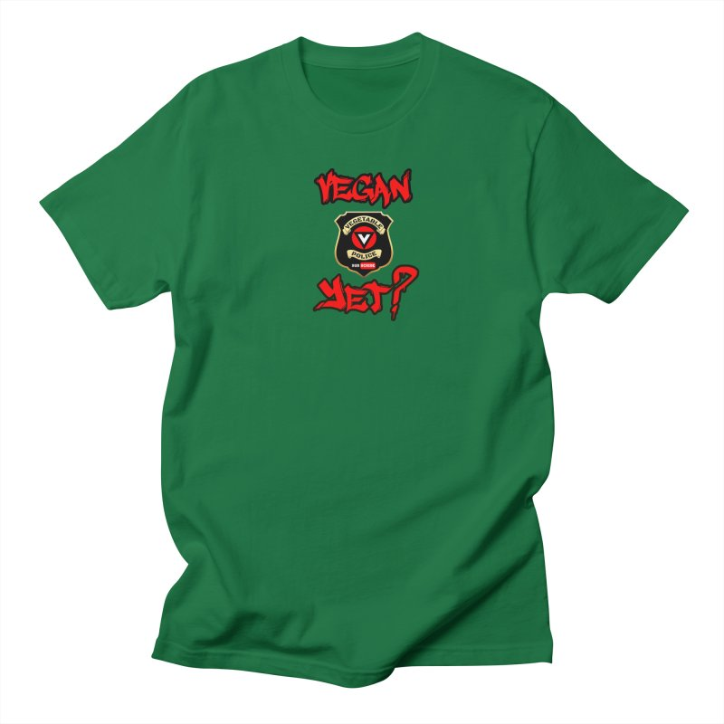 Vegan Yet? (red) Men's Regular T-Shirt by Vegetable Police