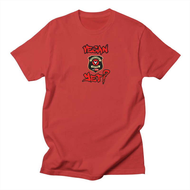 Vegan Yet? (red) Women's Unisex T-Shirt by Vegetable Police