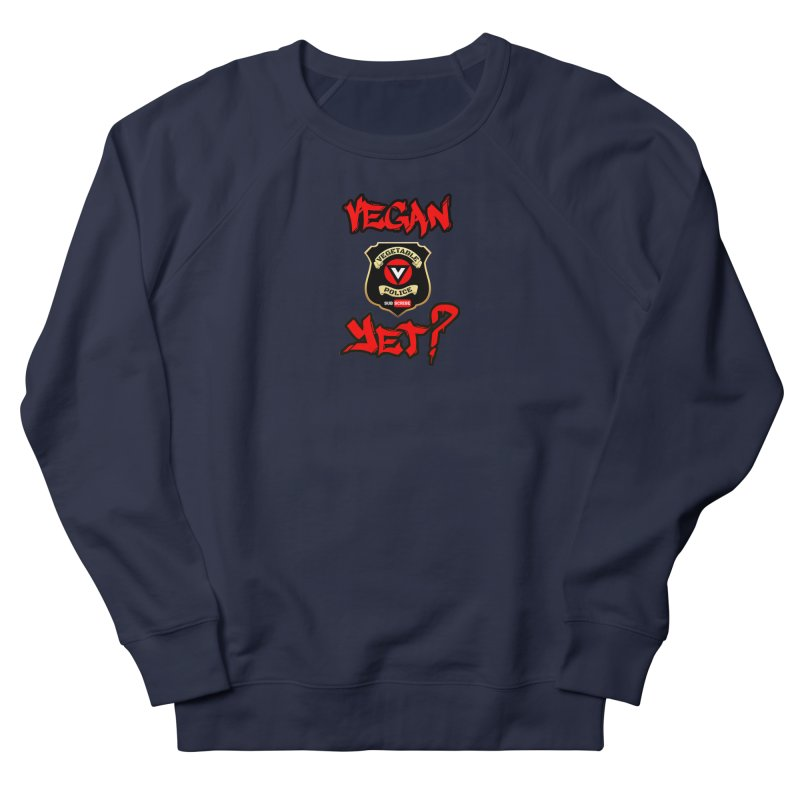 Vegan Yet? (red) Men's French Terry Sweatshirt by Vegetable Police