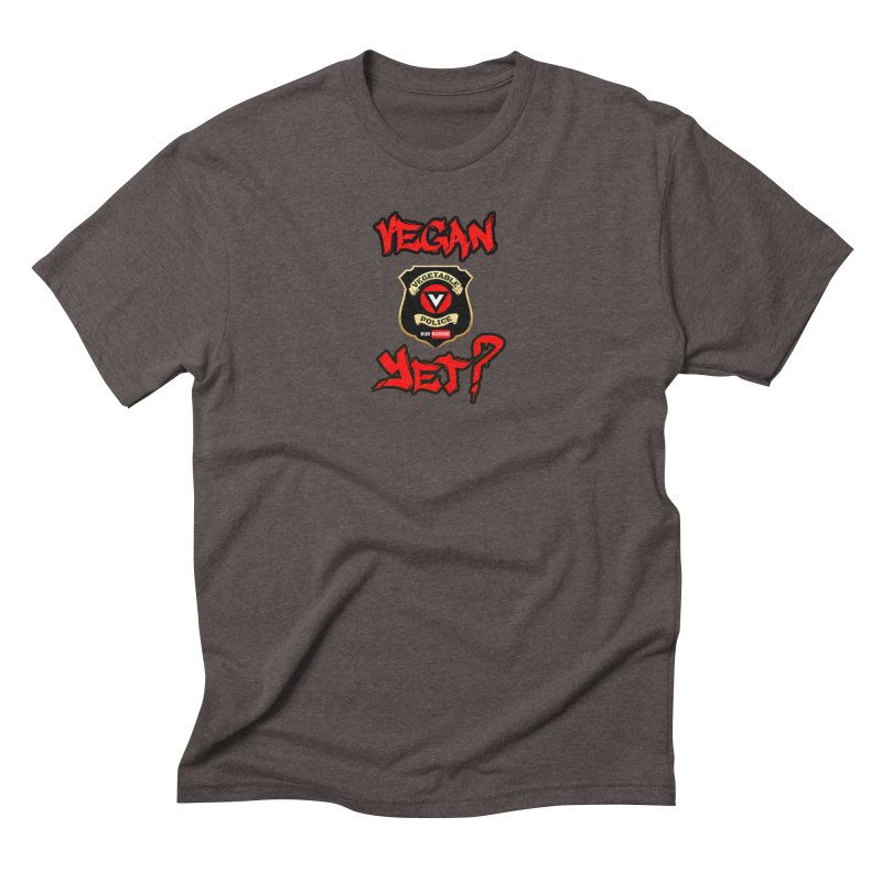 Vegan Yet? (red) Men's Triblend T-Shirt by Vegetable Police