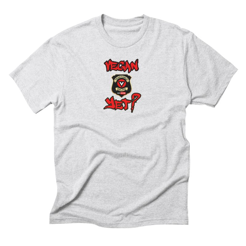 Vegan Yet? (red) Men's T-Shirt by Vegetable Police