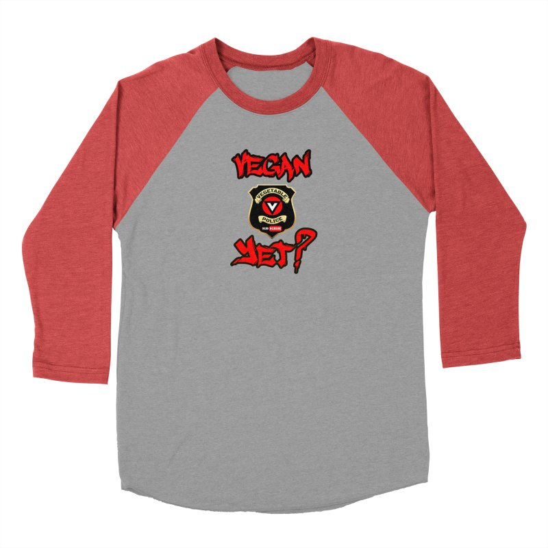 Vegan Yet? (red) Women's Baseball Triblend T-Shirt by Vegetable Police