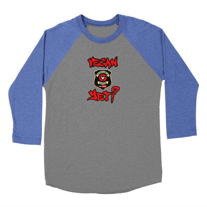 Vegan Yet? (red) Men's Baseball Triblend Longsleeve T-Shirt by Vegetable Police