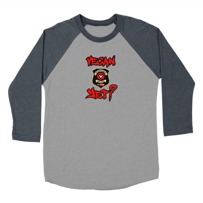 Vegan Yet? (red) Men's Baseball Triblend T-Shirt by Vegetable Police
