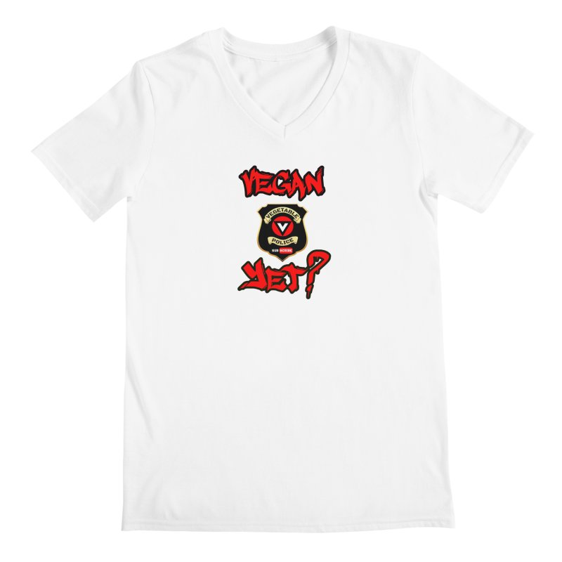 Vegan Yet? (red) Men's V-Neck by Vegetable Police