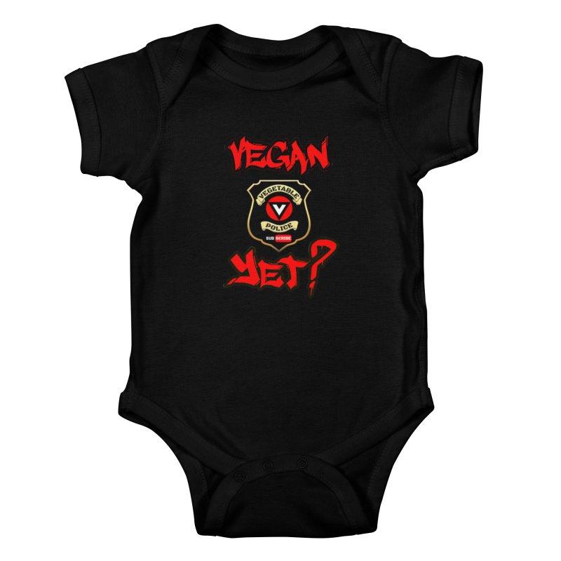 Vegan Yet? (red) Kids Baby Bodysuit by Vegetable Police