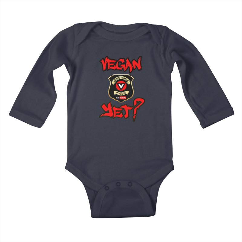 Vegan Yet? (red) Kids Baby Longsleeve Bodysuit by Vegetable Police