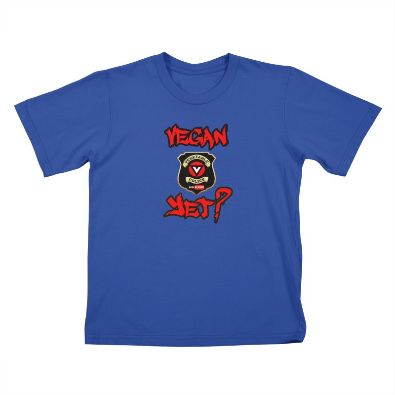 Vegan Yet? (red) Kids T-Shirt by Vegetable Police