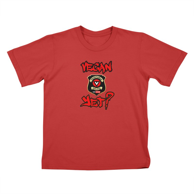 Vegan Yet? (red) Kids T-Shirt by Vegetable Police