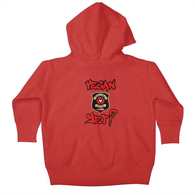 Vegan Yet? (red) Kids Baby Zip-Up Hoody by Vegetable Police