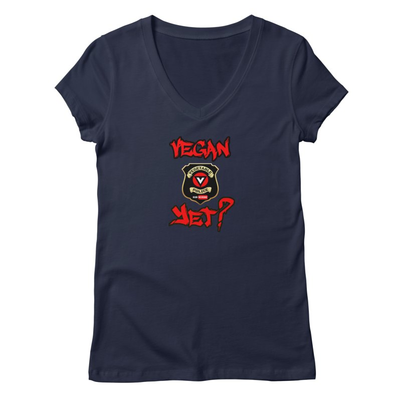Vegan Yet? (red) Women's V-Neck by Vegetable Police