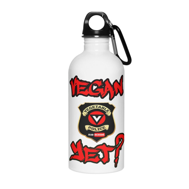 Vegan Yet? (red) Accessories Water Bottle by Vegetable Police