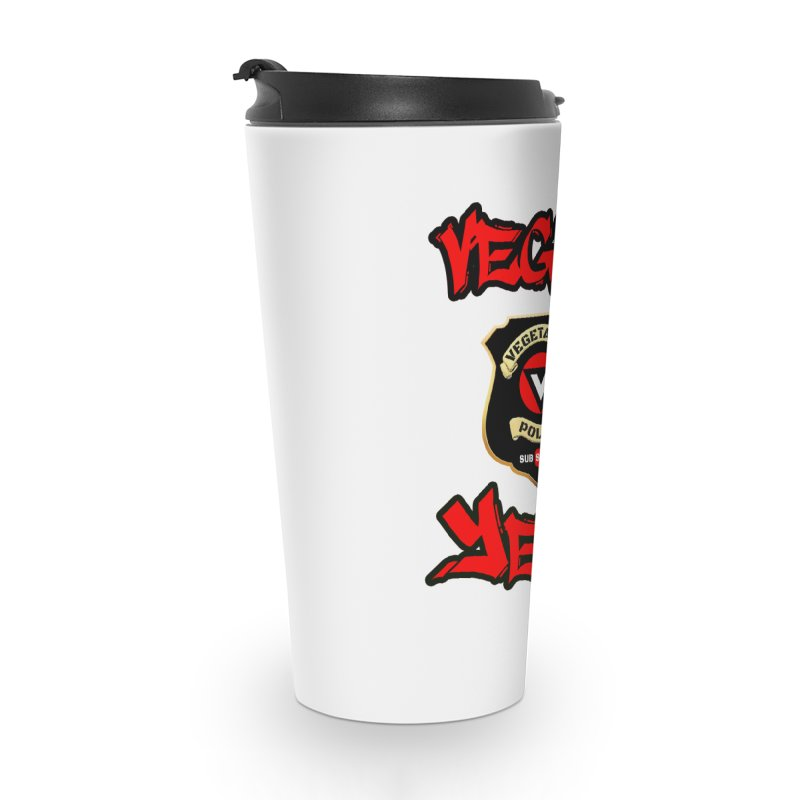 Vegan Yet? (red) Accessories Travel Mug by Vegetable Police