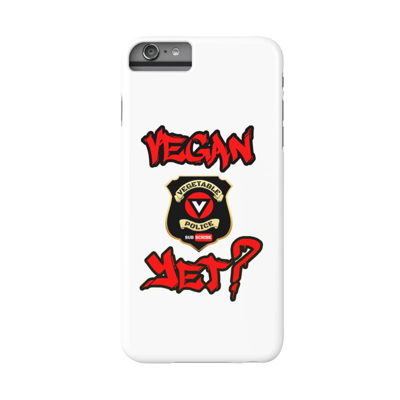 Vegan Yet? (red) Accessories Phone Case by Vegetable Police