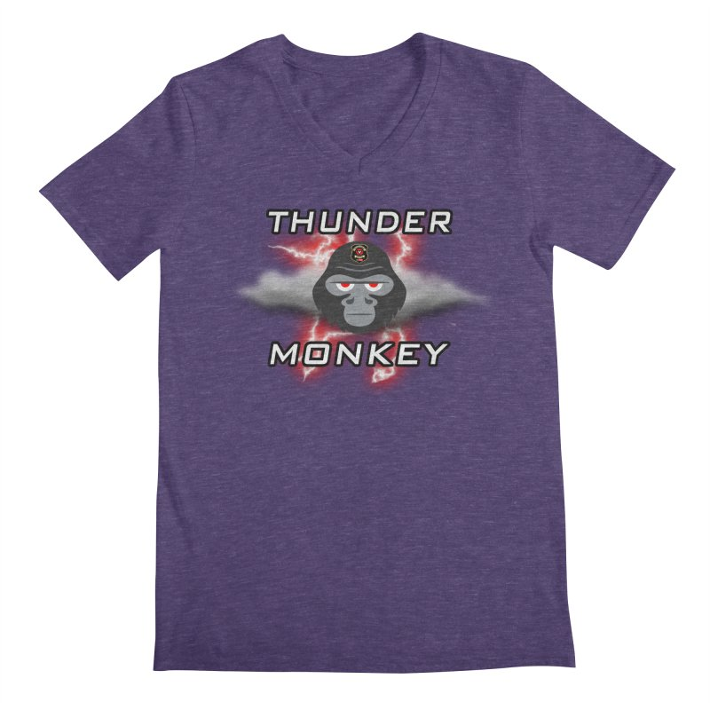 Thunder Monkey Men's V-Neck by Vegetable Conspiracies