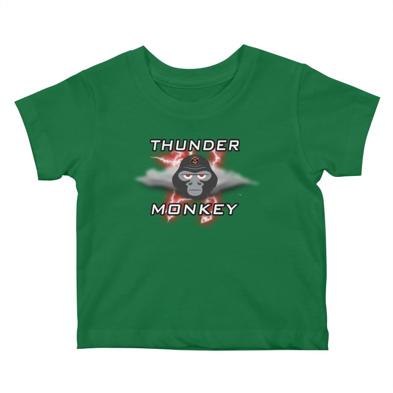 Thunder Monkey Kids Baby T-Shirt by Vegetable Police