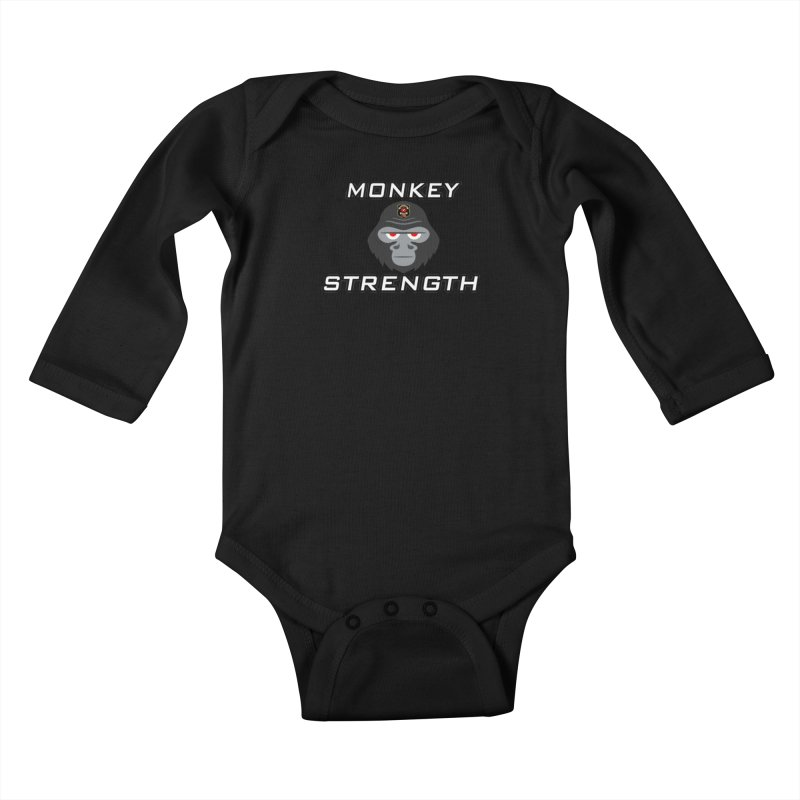 Monkey Strength Kids Baby Longsleeve Bodysuit by Vegetable Police