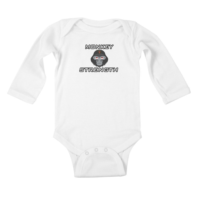 Monkey Strength Kids Baby Longsleeve Bodysuit by Vegetable Conspiracies